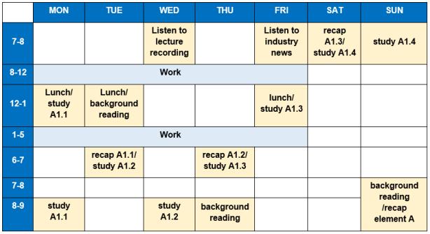 nebosh-diploma-study-timetable